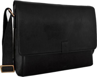 Hidesign Aiden Leather Business Laptop Messenger Crossbody Bag Black - Hidesign Messenger Bags