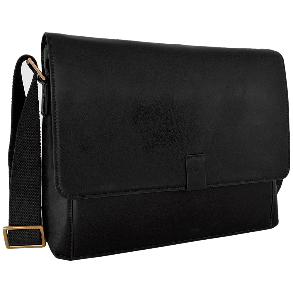 Hidesign Aiden Leather Business Laptop Messenger Crossbody Bag Black Hidesign Messenger Bags