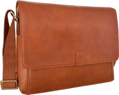 Hidesign Aiden Leather Business Laptop Messenger Crossbody Bag Tan - Hidesign Messenger Bags