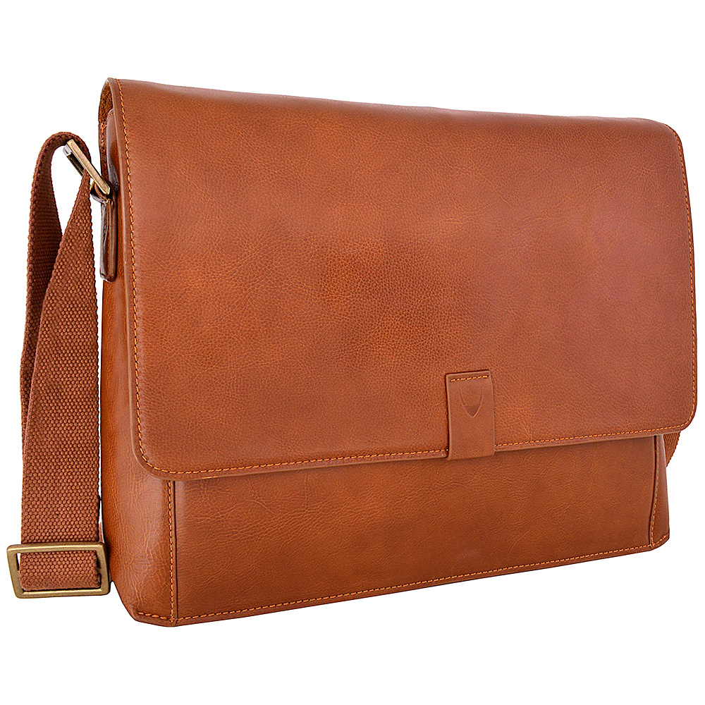 Hidesign Aiden Leather Business Laptop Messenger Crossbody Bag Tan Hidesign Messenger Bags