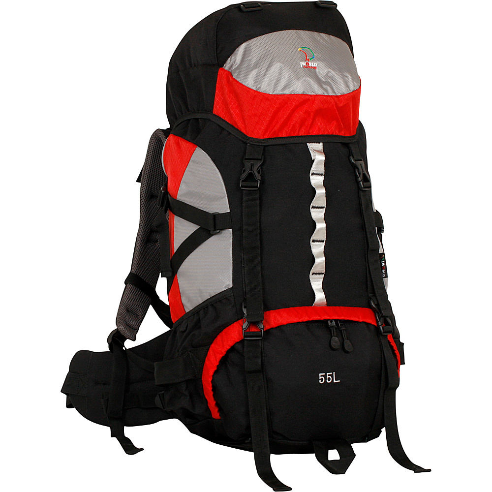 J World New York Crest 45L Hiking Backpack Red - J World New York Day Hiking Backpacks