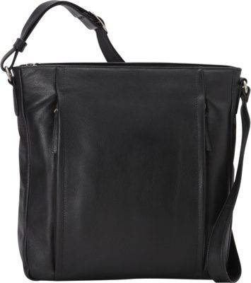 Derek Alexander N/S Inset Top Zip Bag Black - Derek Alexander Leather Handbags