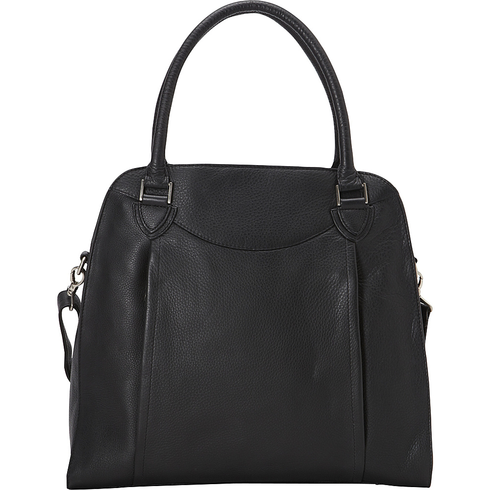 Derek Alexander N S Top Zip ShoulderBag with Twin Handle Strap Black Derek Alexander Leather Handbags