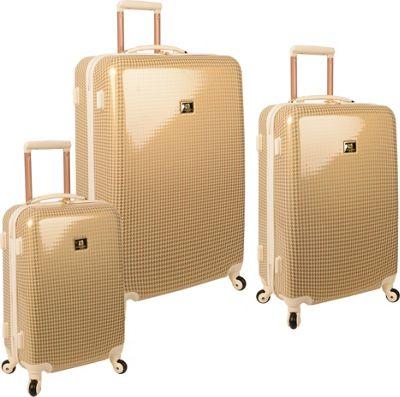 Anne Klein Luggage Manchester 3 Piece Hardside Set Gold/Cream Houndstooth - Anne Klein Luggage Luggage Sets