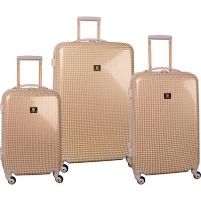 Anne Klein Luggage Manchester 3 Piece Hardside Set Gold/Blush Houndstooth - Anne Klein Luggage Luggage Sets