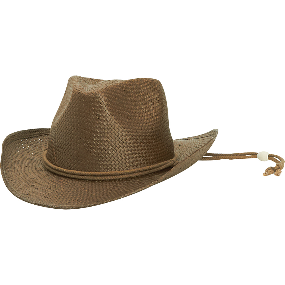San Diego Hat Kids Woven Paper Cowboy with Chin Cord and Stretch Band Dark Brown San Diego Hat Hats Gloves Scarves