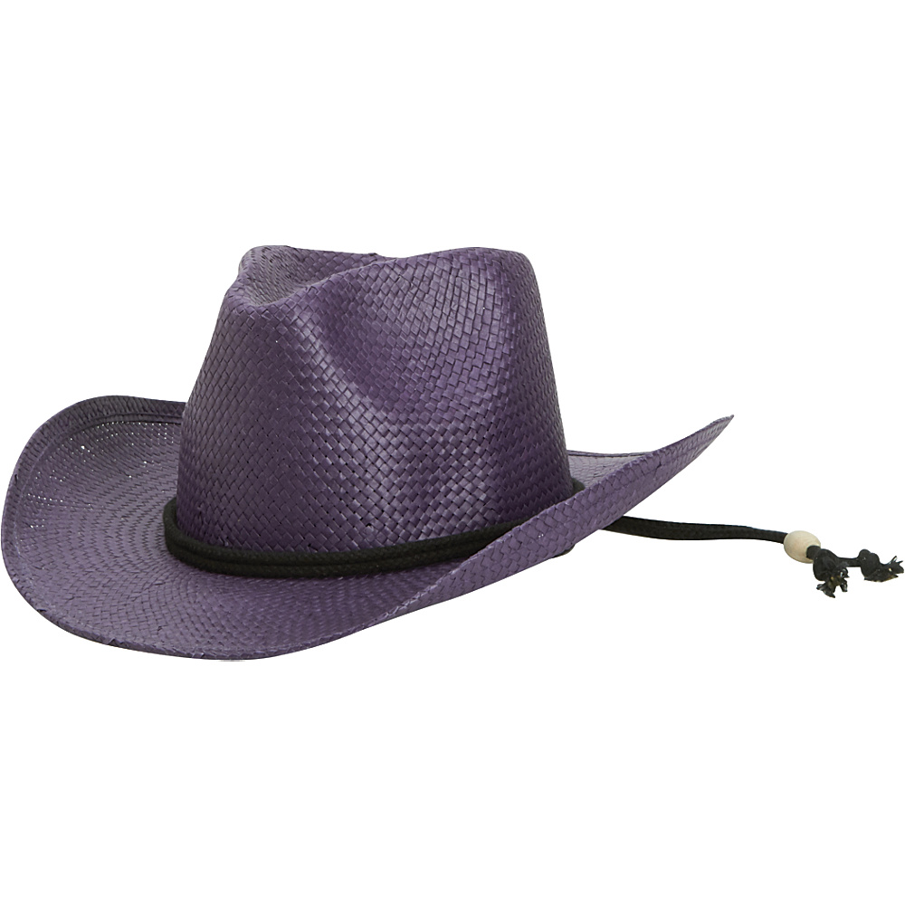 San Diego Hat Kids Woven Paper Cowboy with Chin Cord and Stretch Band Purple San Diego Hat Hats Gloves Scarves