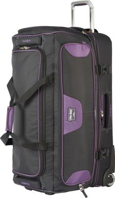 Travelpro T-Pro Bold 2.0 30 inch Rolling Duffle Black & Purple - Travelpro Softside Checked
