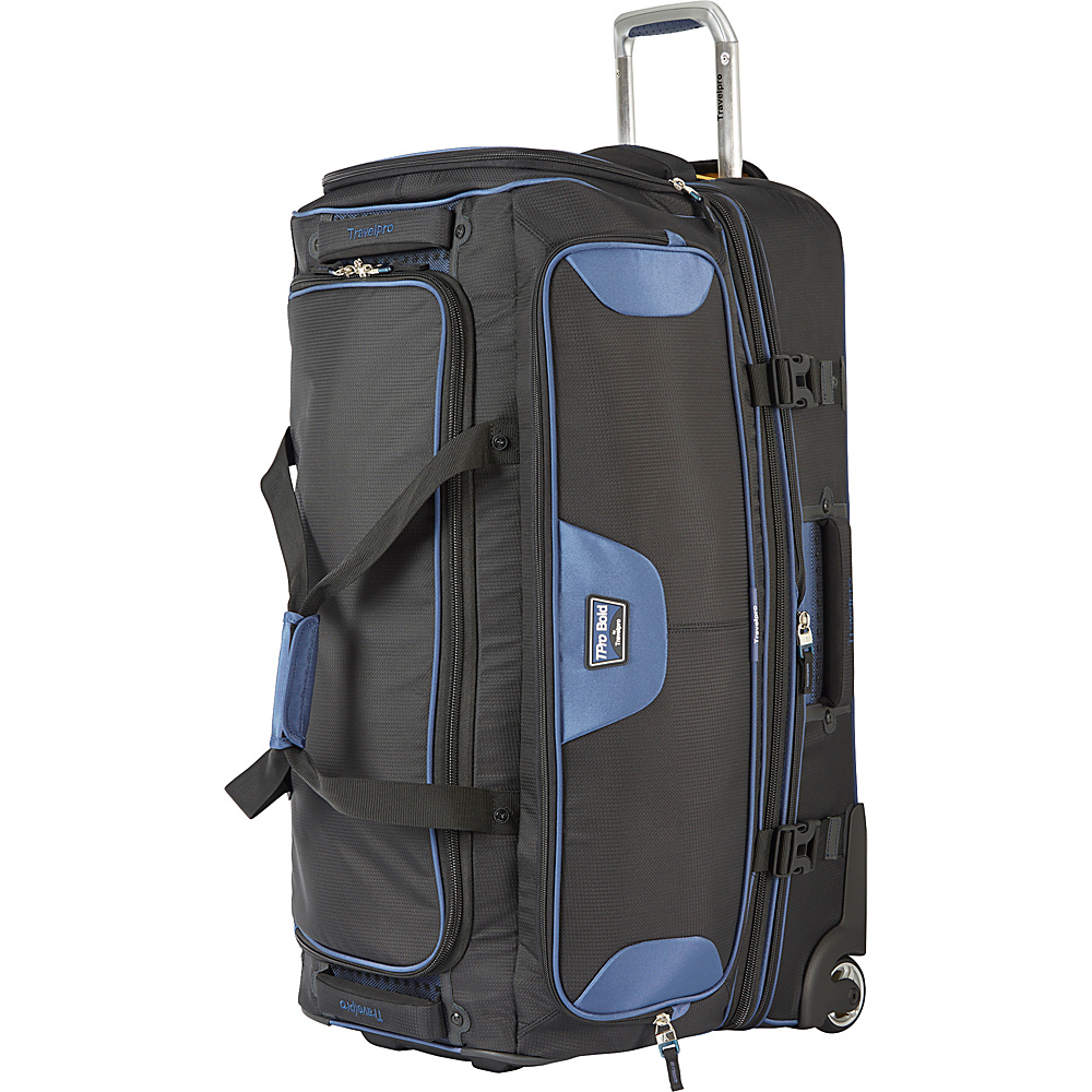"""Travelpro T-Pro Bold 2.0 30"""" Rolling Duffle Black & Blue - Travelpro Softside Checked"""