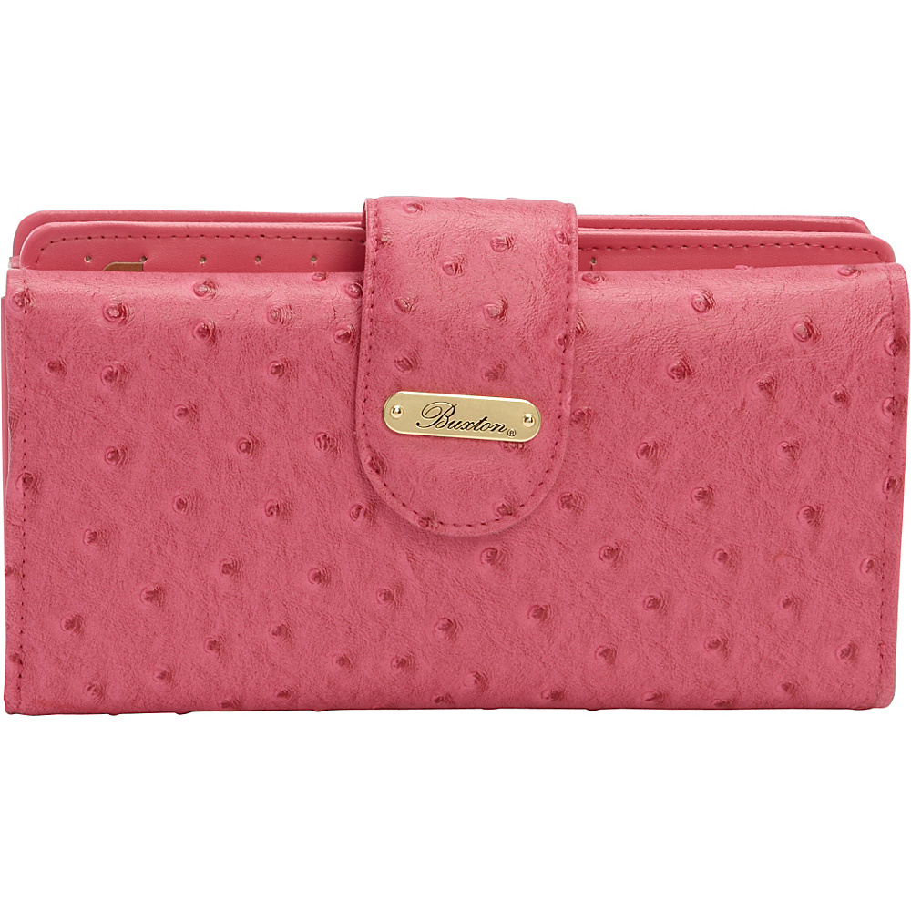 Buxton Ostrich Brights Go To Superwallet Coral - Buxton Womens Wallets - Women's SLG, Women's Wallets
