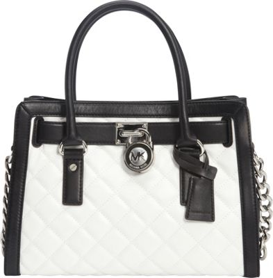 MICHAEL Michael Kors Hamilton Quilted EW Satchel Optic White/Black - MICHAEL Michael Kors Designer Handbags