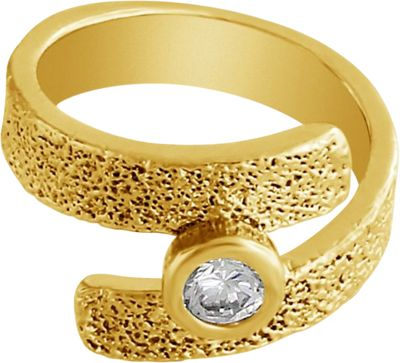 Belcho Jewelry Textured Forever Band with CZ Center Ring Gold-5 - Belcho Jewelry Jewelry