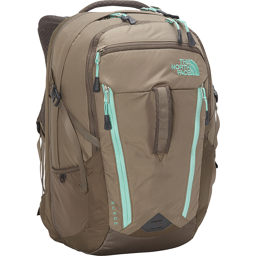 The North Face Women s Surge Laptop Backpack Brindle Brown Surf Green The North Face Business Laptop Backpacks