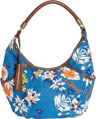 Tignanello Everyday Casual Printed Canvas Hobo Blue Multi Floral - Tignanello Fabric Handbags
