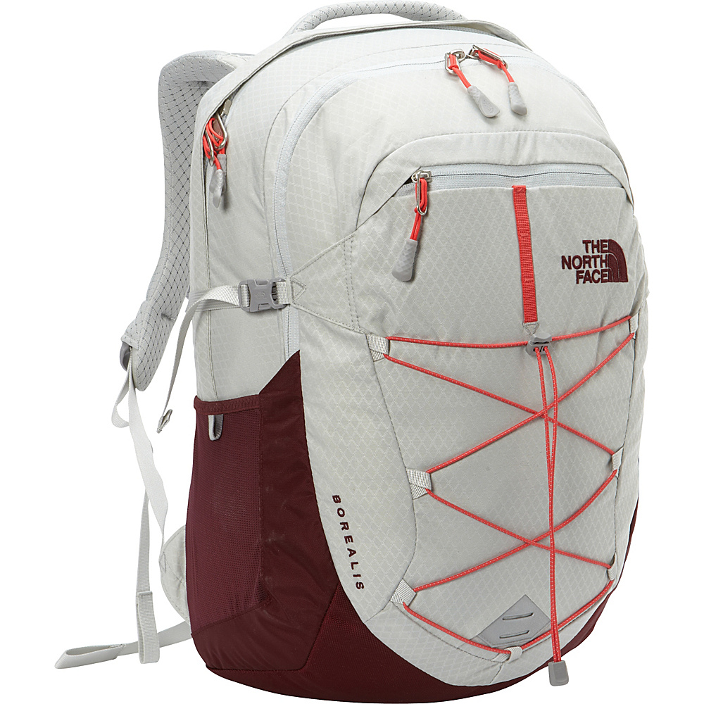 The North Face Women s Borealis Laptop Backpack Lunar Ice Grey Melon Red The North Face Business Laptop Backpacks