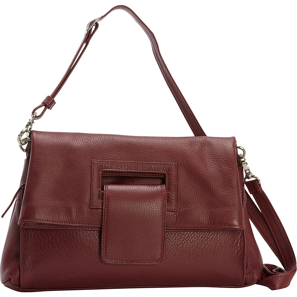 Derek Alexander Envelope Flap Crossbody Handbag Wine - Derek Alexander Leather Handbags - Handbags, Leather Handbags