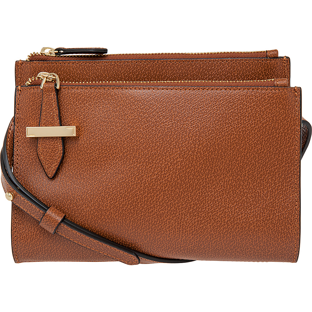 Lodis Stephanie RFID Trisha Double Zipper Crossbody Chestnut Lodis Leather Handbags