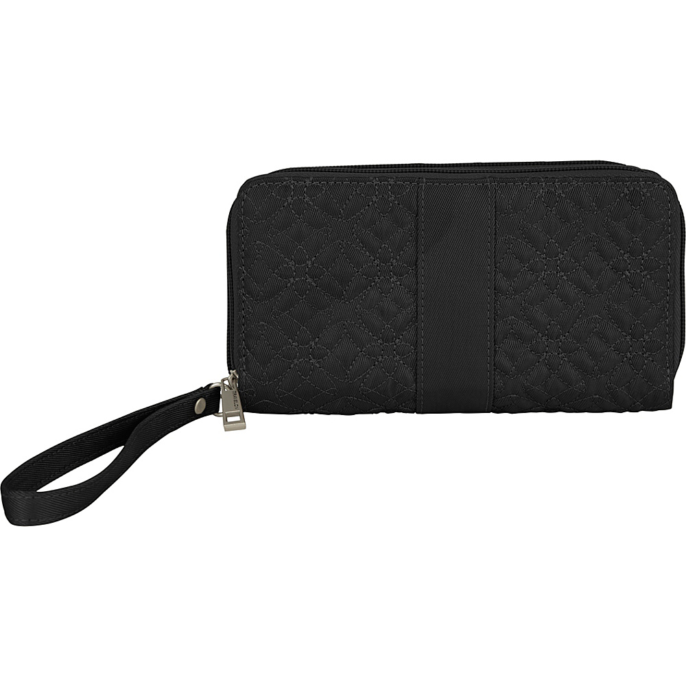 Travelon RFID Signature Embroidered Double Zip Clutch Wallet Black - Travelon Womens Wallets - Women's SLG, Women's Wallets