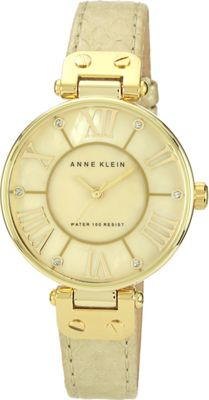 Anne Klein Watches Gold-Tone Snake Print Leather Strap Watch Gold - Anne Klein Watches Watches
