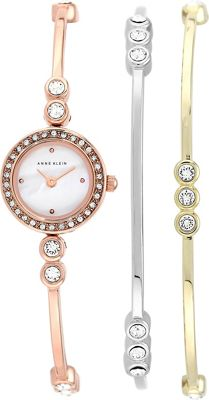 Image of Anne Klein Watches Bangle Watch And Bracelet Set Gold - Anne Klein Watches Watches
