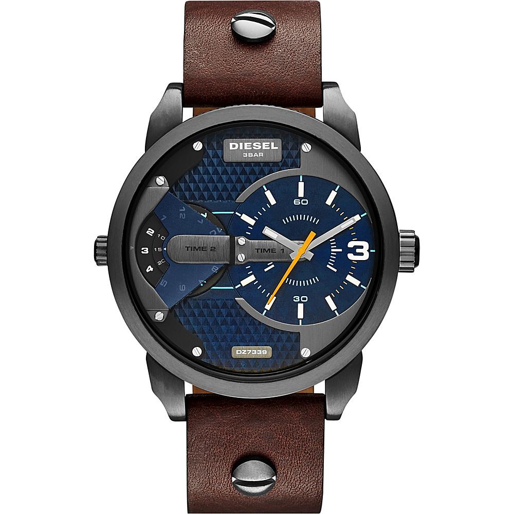 Diesel Watches Mini Daddy Leather Watch Brown/Gunmetal - Diesel Watches Watches