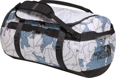 The North Face Base Camp Duffel Large Dusty Blue Around The World Print/Asphalt Grey - The North Face Outdoor Duffels