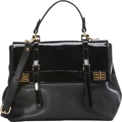 Tiffany & Fred Debbie Satchel Black/Black Patent - Tiffany & Fred Leather Handbags