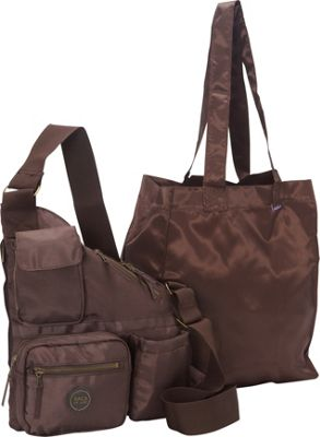 Sacs Collection by Annette Ferber Sacs Collection by Annette Ferber Metro Bag-2 bag Set Chocolate - Sacs Collection by Annette Ferber Fabric Handbags