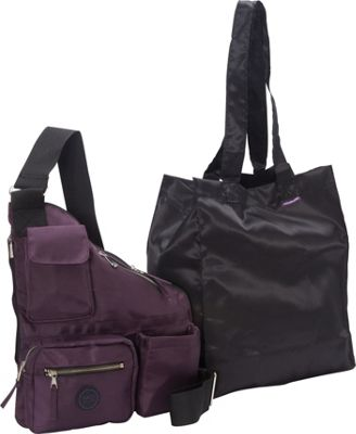 Sacs Collection by Annette Ferber Metro Bag-2 bag Set Eggplant - Sacs Collection by Annette Ferber Fabric Handbags