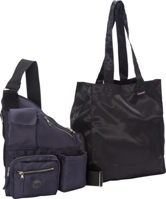 Sacs Collection by Annette Ferber Sacs Collection by Annette Ferber Metro Bag-2 bag Set Navy - Sacs Collection by Annette Ferber Fabric Handbags