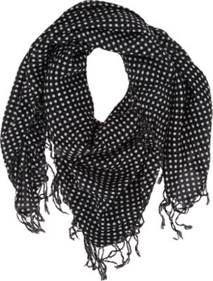 Keds Square Scarf with Fringe Black Classic Dot - Keds Hats/Gloves/Scarves