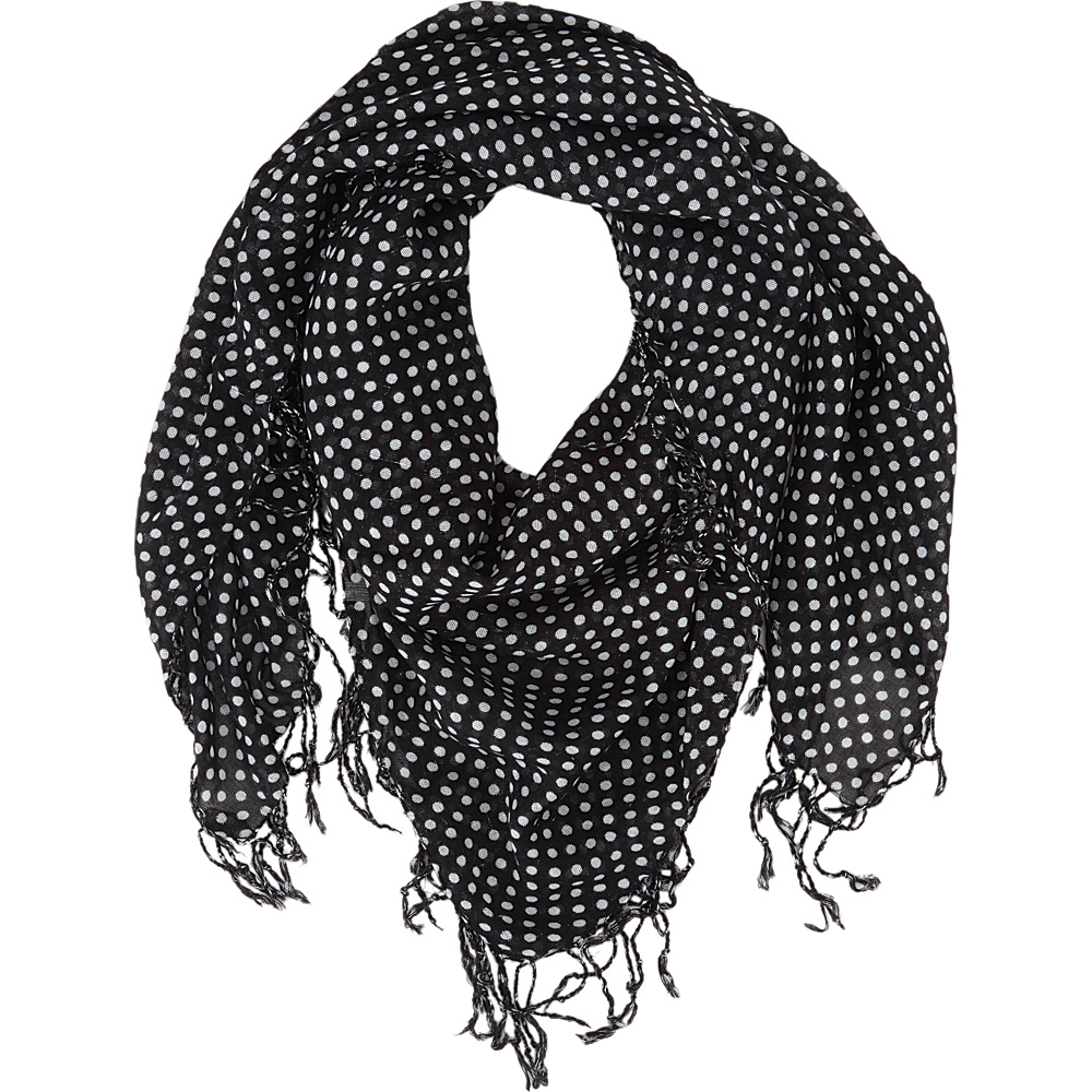 Keds Square Scarf with Fringe Black Classic Dot Keds Hats Gloves Scarves