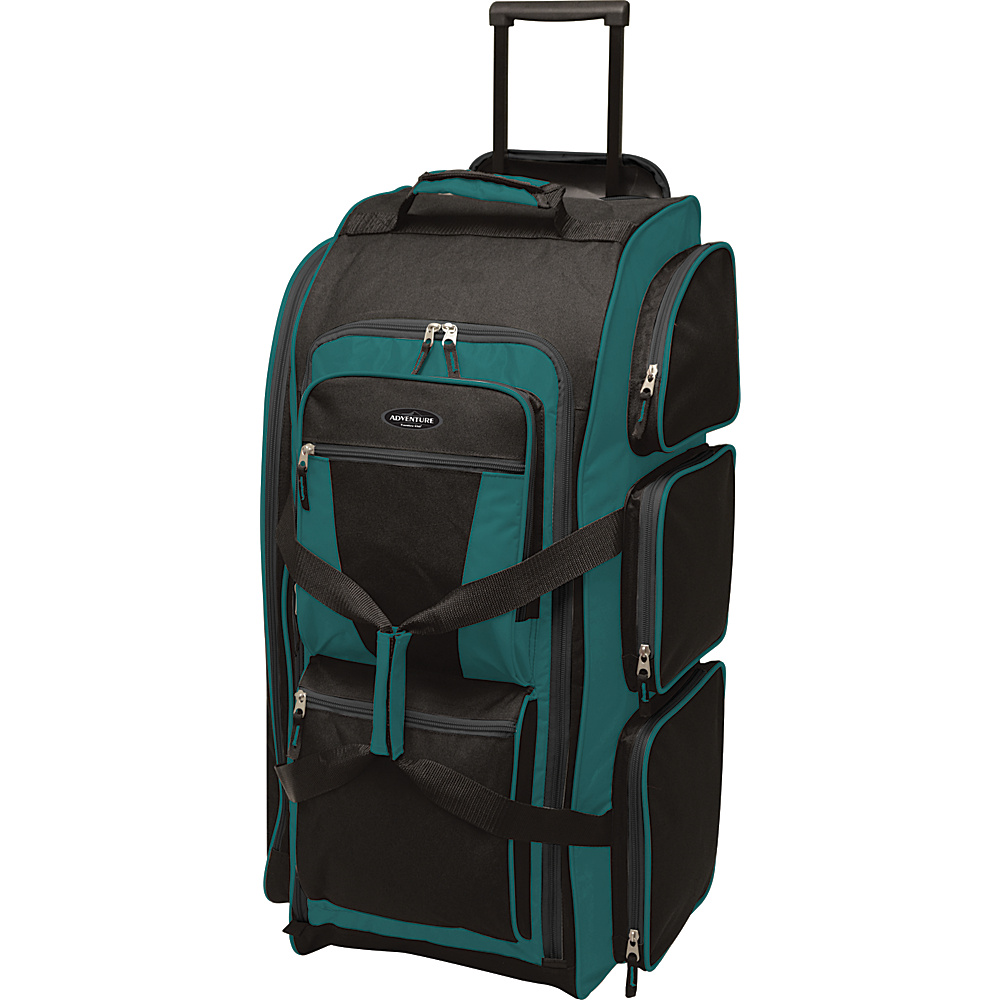 """Travelers Club Luggage 30"""" Xpedition Multi-Pocket Rolling Duffel- Exclusive Colors Teal Green - Travelers Club Luggage Rolling Duffels"""
