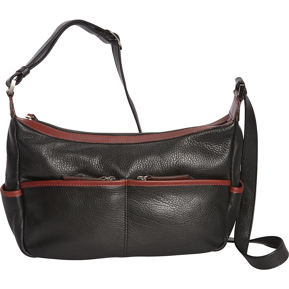 Derek Alexander Small Shoulder Hobo Black/Brandy - Derek Alexander Leather Handbags - Handbags, Leather Handbags