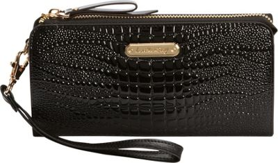 Leatherbay Croco Accordion Style Clutch Black - Leatherbay Women's Wallets