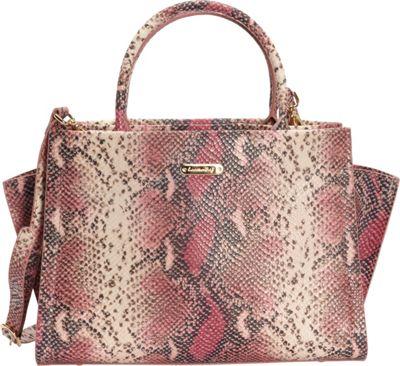 Leatherbay Alba Italian Leather Satchel Pink/Black - Leatherbay Leather Handbags
