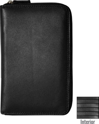 BelArno Leather Passport Holder with Zip in Multi Color Combination Black Solid - BelArno Travel Wallets