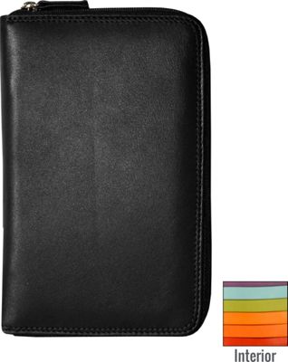 BelArno BelArno Leather Passport Holder with Zip in Multi Color Combination Black Rainbow Combination - BelArno Travel Wallets