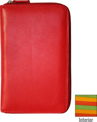 BelArno Leather Passport Holder with Zip in Multi Color Combination Red Combination - BelArno Travel Wallets