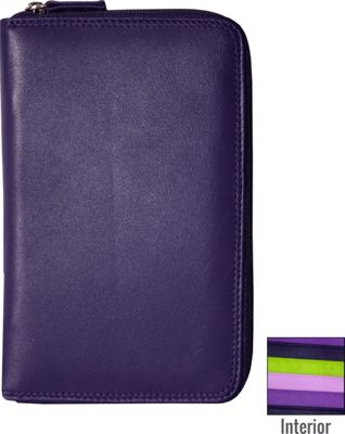 BelArno Leather Passport Holder with Zip in Multi Color Combination Purple Combination - BelArno Travel Wallets