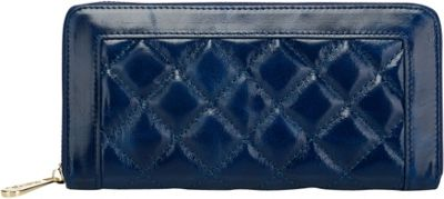 Vicenzo Leather Alexis Quilted Women's Leather Zip Wallet Coin Purse Blue - Vicenzo Leather Designer Handbags