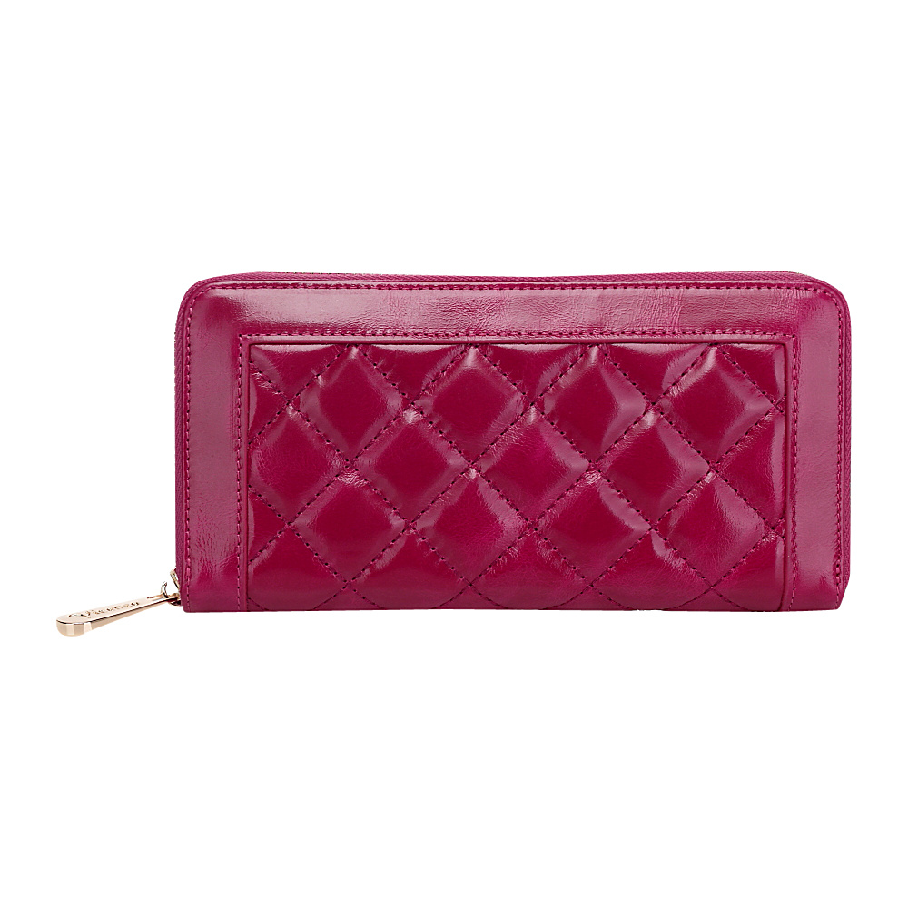 Vicenzo Leather Alexis Quilted Women's Leather Zip Wallet Coin Purse Pink - Vicenzo Leather Designer Handbags