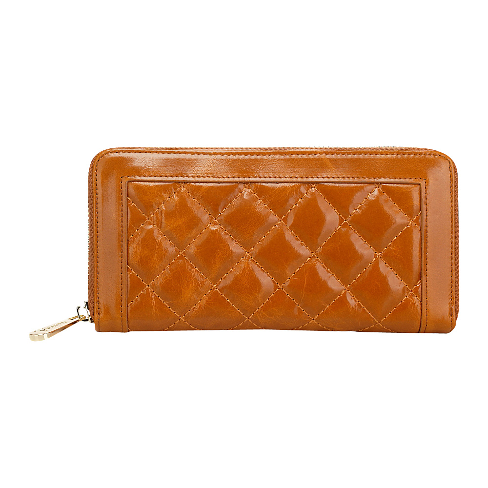 Vicenzo Leather Alexis Quilted Women's Leather Zip Wallet Coin Purse Brown - Vicenzo Leather Ladies Small Wallets