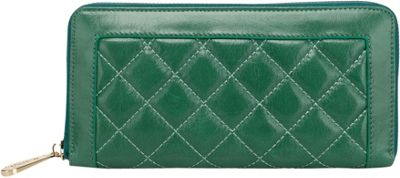Vicenzo Leather Alexis Quilted Women's Leather Zip Wallet Coin Purse Green - Vicenzo Leather Designer Handbags