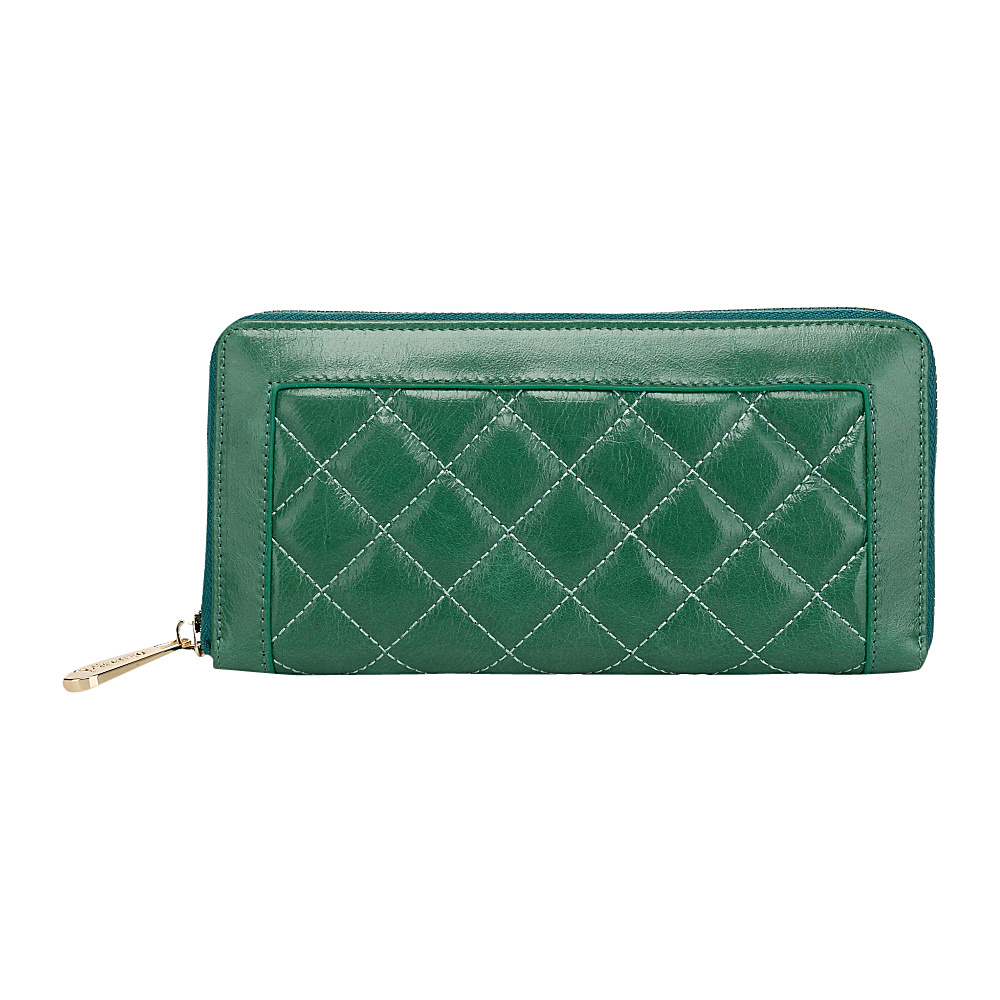Vicenzo Leather Alexis Quilted Women s Leather Zip Wallet Coin Purse Green Vicenzo Leather Women s Wallets