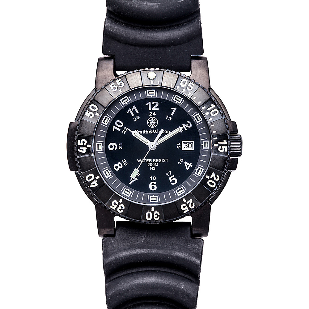 Smith & Wesson Watches Diver Swiss Tritium H3 Watch with Rubber Strap Black - Smith & Wesson Watches Watches