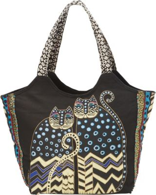 Laurel Burch Polka Dot Gatos Large Scoop Tote Multi - Laurel Burch Fabric Handbags
