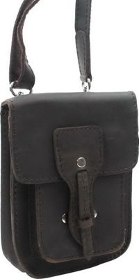 "Vagabond Traveler 8.5"" Slim Leather Sling Bag Dark Brown - Vagabond Traveler Leather Handbags"