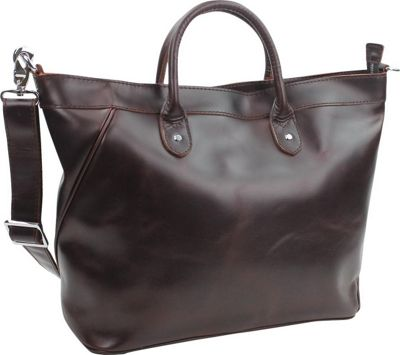 "Vagabond Traveler 18"" Large Leather Tote Wine Red - Vagabond Traveler Leather Handbags"