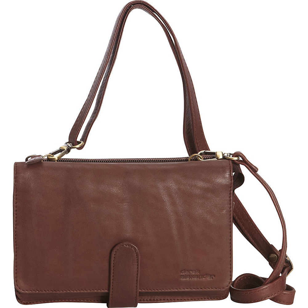 Derek Alexander Front Flap Organizer Crossbody Brown - Derek Alexander Leather Handbags - Handbags, Leather Handbags